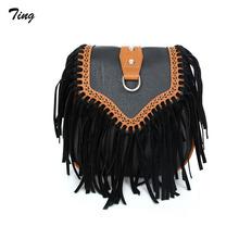 Spain designer brand Tassel Leather Crossbody bags Women Vintage Scrub small Messenger Shoulder Bag Girls Party clutch satchel