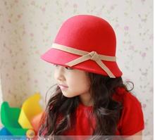 Single autumn and winter female child casual woolen large brim hat fashion cap woolen dome children hats(China (Mainland))