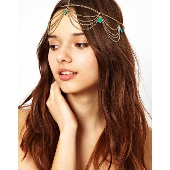 Min Order $18(Can Mix Item) Fashion Elegant  Women Hair Jewelry Green Stone Tassels T Chain Hairband Headband For Wedding