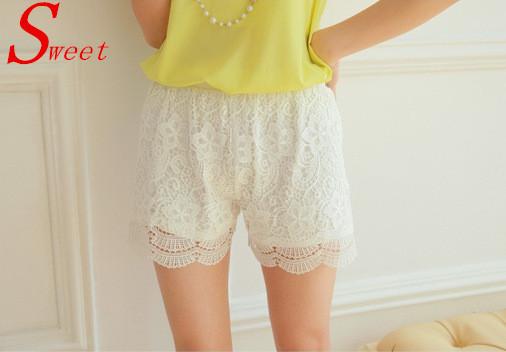 2015 Summer women shorts Hot cheap Korean fashion ladies sweet cute crochet tiered mini beach white /black solid lace Shorts(China (Mainland))