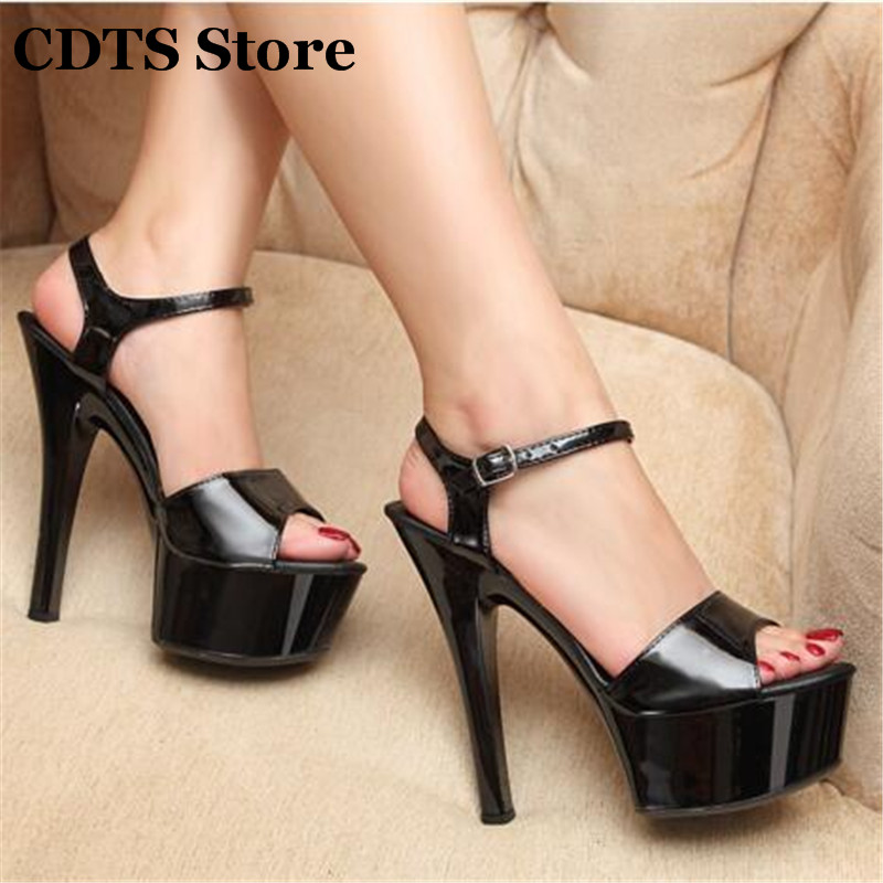 CDTS Plus:34-44 Multicolor pumps fashion Ankle Strap womens shoes sexy 15cm thin high-heeled  platform paint leather sandals<br><br>Aliexpress