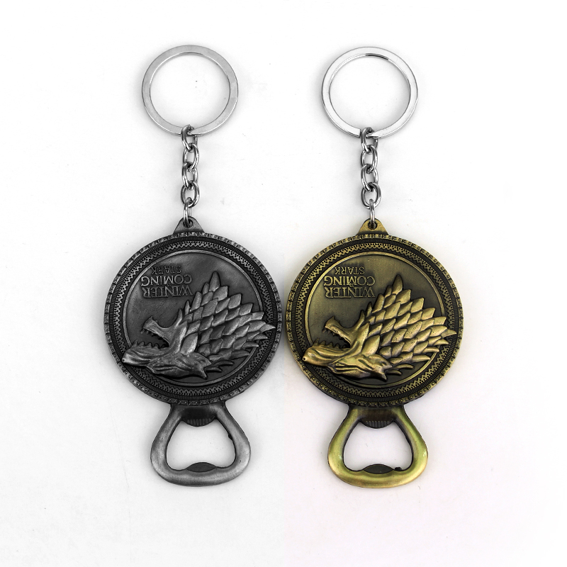 Game Of Thrones House Of Stark Wolf Bottle Opener Practical Pendant Keychain Support Drop Shipping Free Shipping(China (Mainland))
