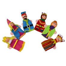 6pcs Kids Wood King Queen Finger Puppet Dolls Story Learning Educational Toy(China (Mainland))