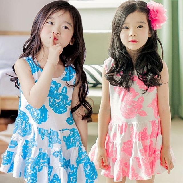 Новые летние дети девочки цветочные платья хлопок falbala ну вечеринку платье девочка платье без рукавов
