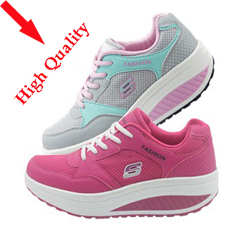 2014 Hot Sale Fashion Breathable Wedge Sneakers For Women Shoes Platform Sports Shoes Women Casual Shoes