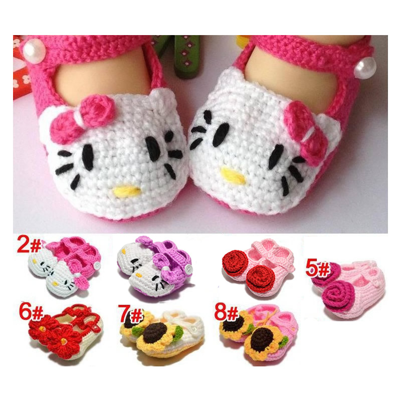 Hot Selling New Style Toddler Knitted Crib Shoes Newborn Infant Girl Crochet Knitted Flower Baby First Walkers(China (Mainland))