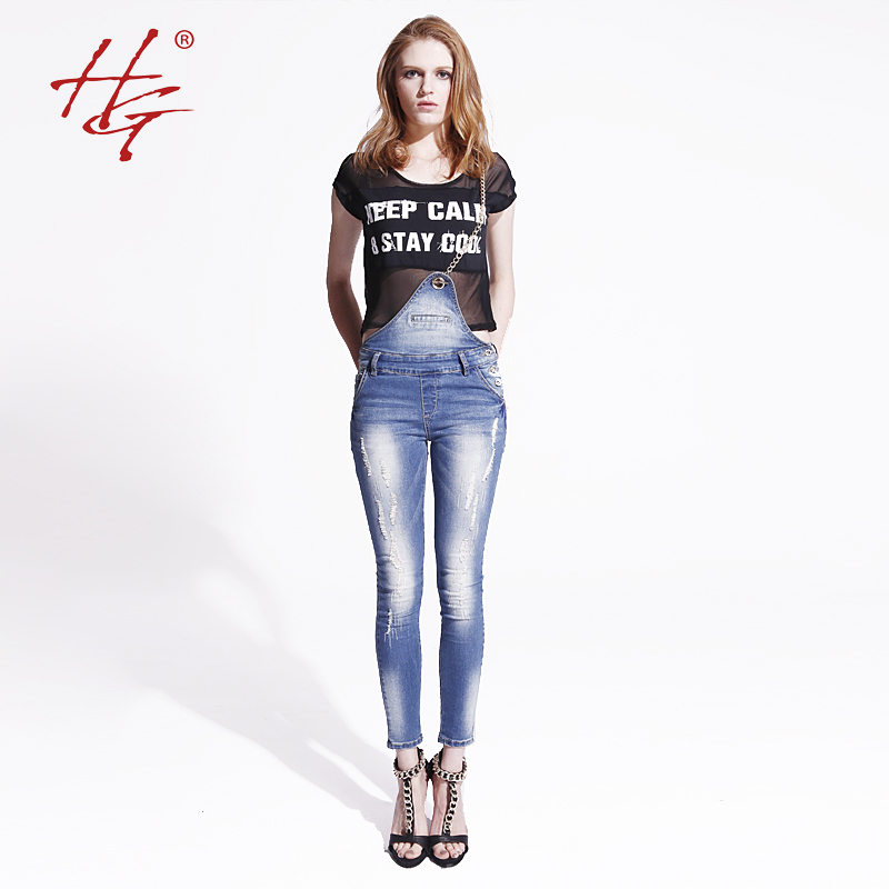 HG#S07 2015 summer style overalls women fake pockets side buttons ripped tight jeans female original metal gallus skinny jeans(China (Mainland))