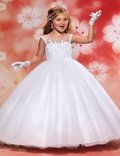 2016 New Princess White Tulle Appliques Beaded Cheap Bridal Gown Flower Girl Dresses Long Girl Gown Holy Communion Dresses PW86