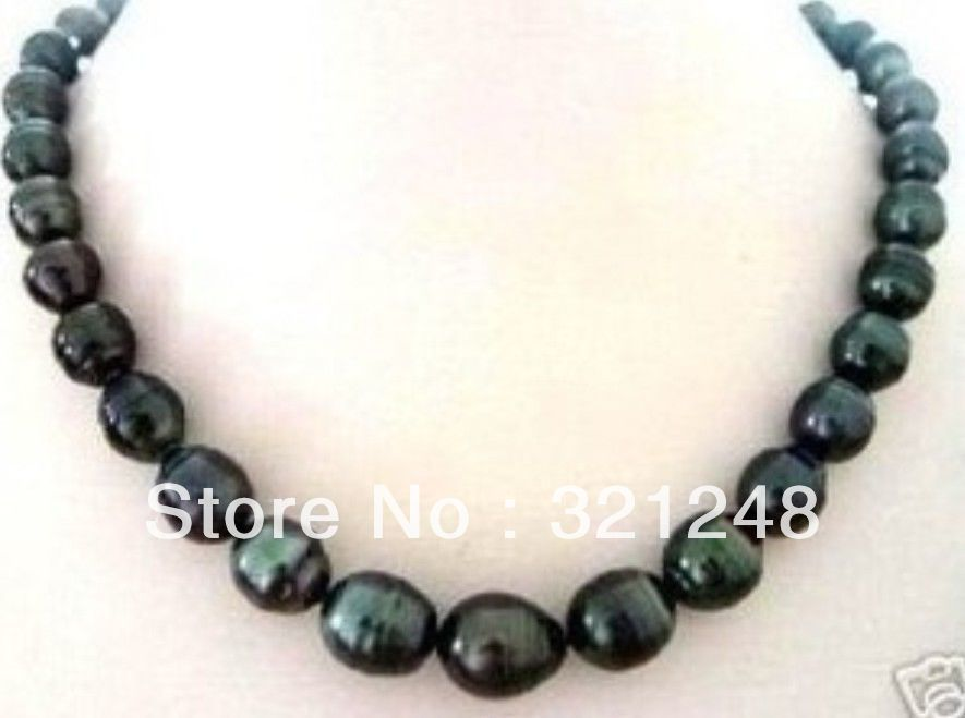 """new beads 2014 NATURAL 8X9MM TAHITIAN RICE BLACK PEARL NECKLACE 18"""" beads jewelry making MY2084(China (Mainland))"""