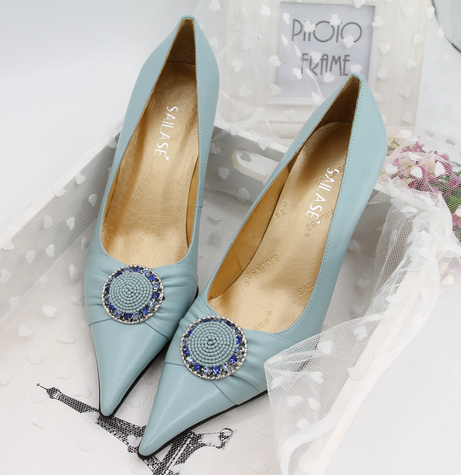 2015 fashion wedding shoes high heels female pointed toe genuine leather light blue pink plus size women pumps - Pinky's House Fashion Store store