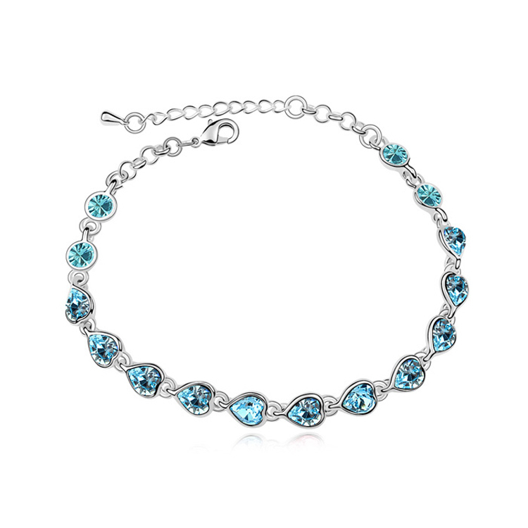 Wholesale Heart Chain Bracelete Made With Swarovski Elements Crystal Wedding accessories for bridal Pulseiras(China (Mainland))