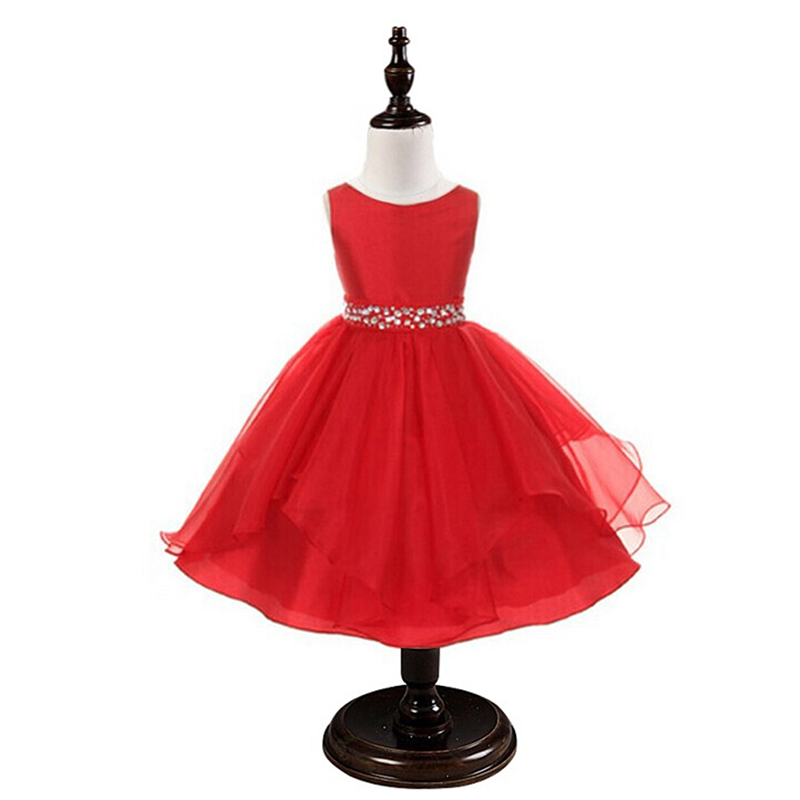 Red Formal Girl Dress For Evening Prom Party Costume Crystal Baby Girls Kids Clothes Princess Wedding Little Bridesmaid Dress(China (Mainland))