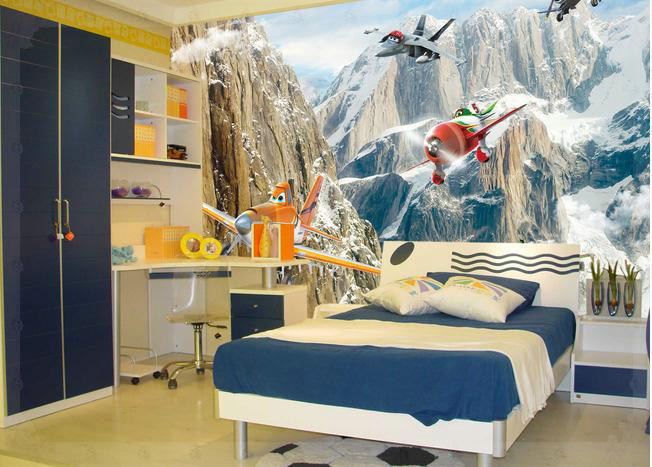New large wallpaper Custom wallpaper Animated cartoon airplane mural wall paper papel de parede wall stickers 8763 cold water(China (Mainland))