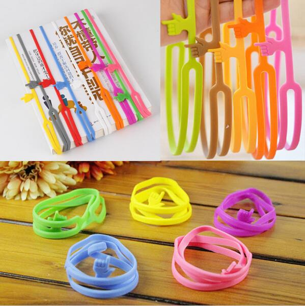 Hot Sale New Cute Silicone Finger Pointing Bookmark Book Mark Office Supply Funny Gift Drop Shipping(China (Mainland))