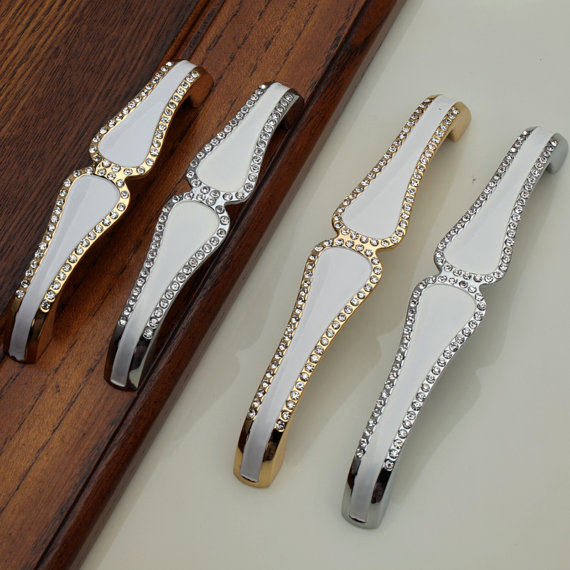 Silver Gold Crystal Dresser Pull Drawer Pulls Knobs Kitchen Cabinet Door Handle Pull Clear Glass Cupboard Furniture Hardware(China (Mainland))