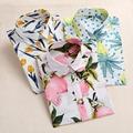 Dioufond Lemon Floral Print Summer Blouse Women Shirt Long Sleeve Cotton Blouse Turn Down Collar Women