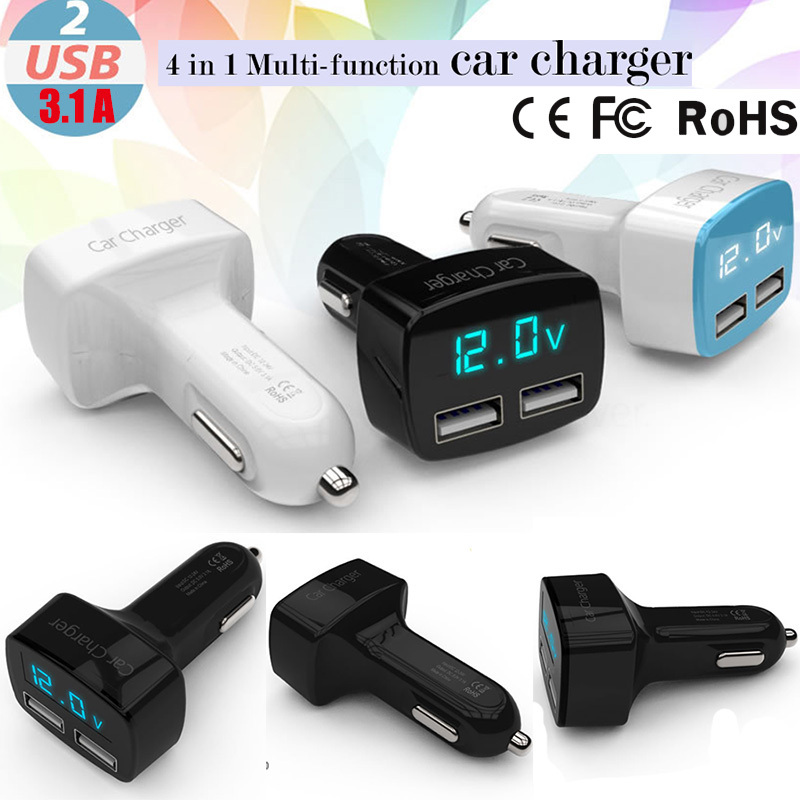 4 in 1 Car Charger Cigarette Lighter Dual 3.1A USB Phone charger Display Temperature+Voltage + Current Led Light(China (Mainland))