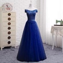 אונליין שווי שרוול טול תחרה ערב שמלות ארוך פורמליות אלגנטי לנשף שמלות שמלת יין אדום ירוק כחול אפור ורוד רבים צבע EN04(China)