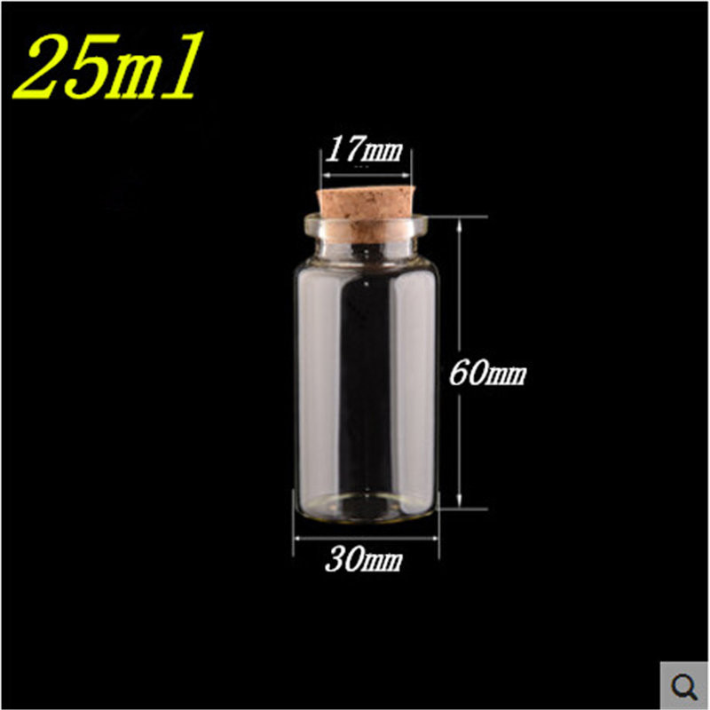 25ml Glass Bottles With Cork  50pcslot For Wedding Holiday Decoration Christmas Gift