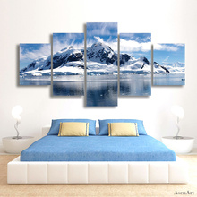 5 Panels Snow Mountain Landscape Painting Canvas Printing Modern Home Wall Decor Picture for Living Room Unframed(China (Mainland))