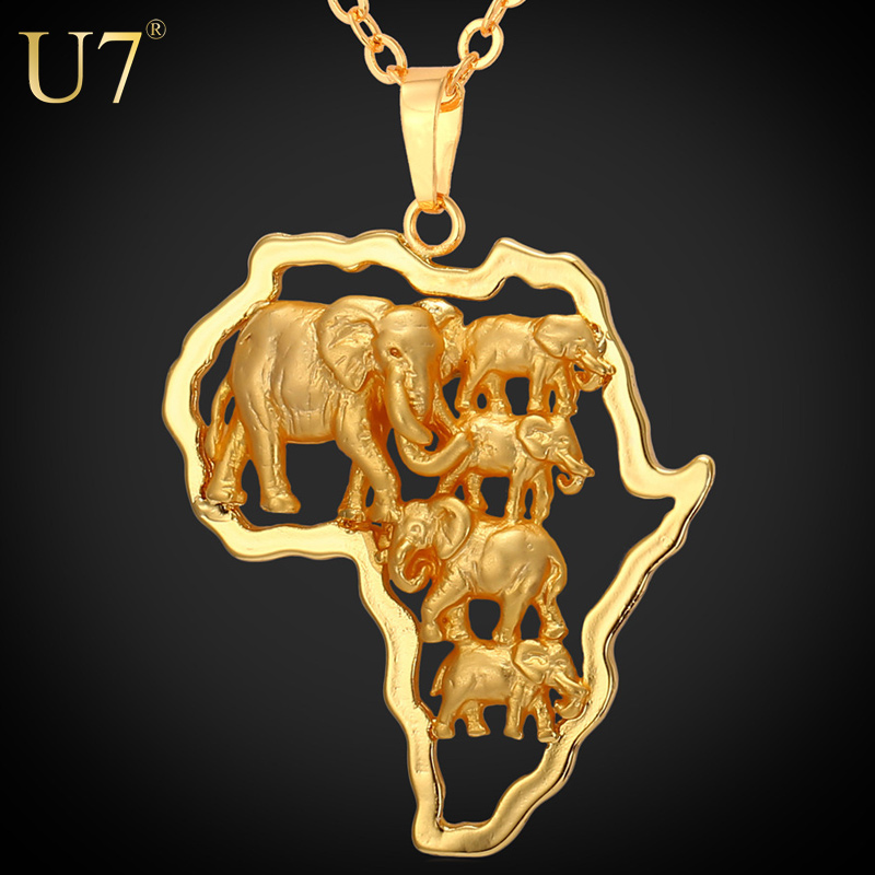 u7 Gold Plated Africa Elephant Men Necklace For Women Fashion Party 2016 African Map Pendant Necklace Hiphop Animal Jewelry P773(China (Mainland))