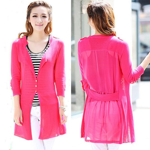 Korea design Sweet Sweater women knit wear cardigan Lady's medium-long chiffon joint Causal knitted coat outerwear - Jazz Still Clothing Ltd, store