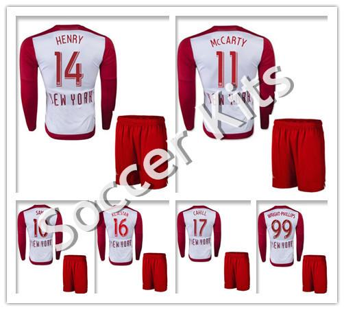 15/16 New York Soccer Jerseys Uniforms Kits Long Sleeve 2016 HENRY MCCARTY Survetement Football Shirt Red Camiseta Bullses(China (Mainland))