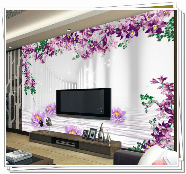 Non-woven wallpaper mural wallpaper seamless shipping stickers living room TV sofa background 3D gallery purple water lotus beac(China (Mainland))