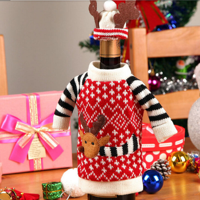 Red Wine Champagne Bottle Cover Christmas Toys ornaments Deer Elk Style new Year Hat Dress christmas decorations for home(China (Mainland))