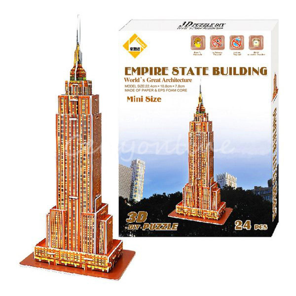 Best Toys for childrens day Learning Education Colourful Carboard Jigsaw Model 3D Puzzle Empire State Building DIY Intelligence(China (Mainland))