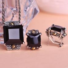 Illuminati Europe Fashion Big Black Anti Silver Rhinestone Necklaces Pendants & Earrings Men Jewelry Sets Perfumes For Women Vaz(China (Mainland))
