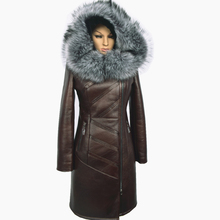 Custom Factory wholesale fashion fox fur collar and long sections 2015 winter Warm new women's fur coat hooded Russia shipping(China (Mainland))