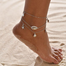 Boho yalınayak sandalet kabuk halhal ayak takısı el yapımı örgü denizyıldızı deniz kaplumbağası ayak bileği bilezik plaj aksesuarları kadın hediyeler(China)