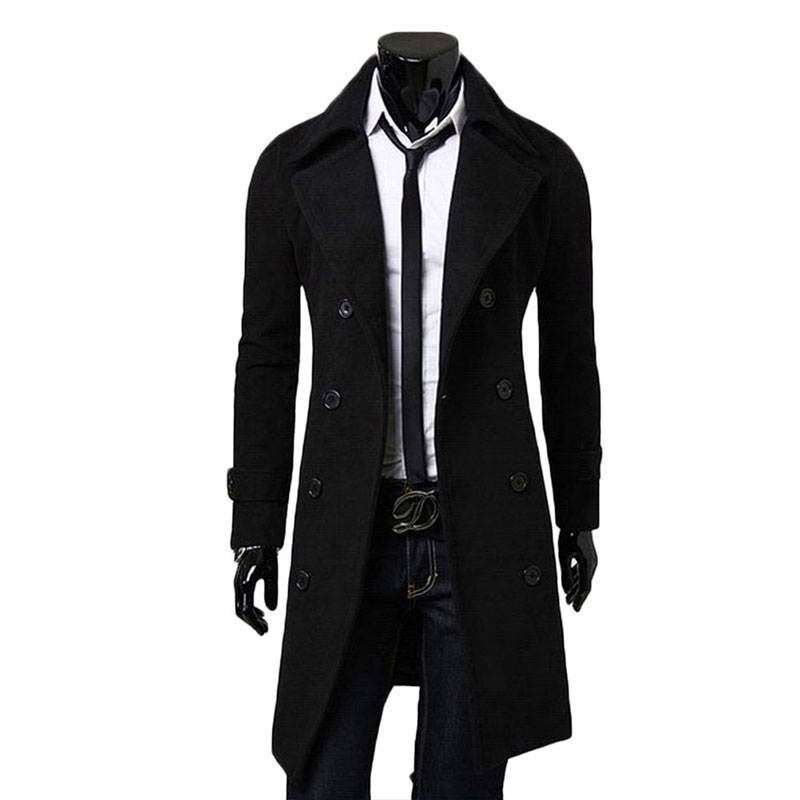 Men Double Breasted Lapel Overcoat Coat Male Casual Comfortable Outwear Windbreaker Long Trench Black/Gray/CamelОдежда и ак�е��уары<br><br><br>Aliexpress