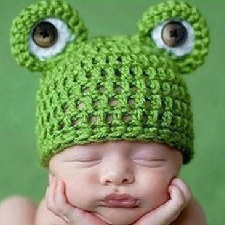Baby Infant Newborn Handmade Crochet Knit Cap Frog Hat Costume Photograph Prop Drop Shipping BB-142(China (Mainland))