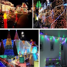 Solar Lights Outdoor Indoor Powered 12M Light 100 LED String Fairy Automatic Garden Waterproof Christmas Party Decoration Lamp(China (Mainland))