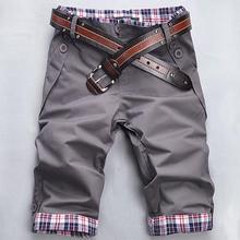 2015 New Summer Style Shorts Mens Cargo Shorts Five Pants Plaid Hem Pocket Casual Short Pants