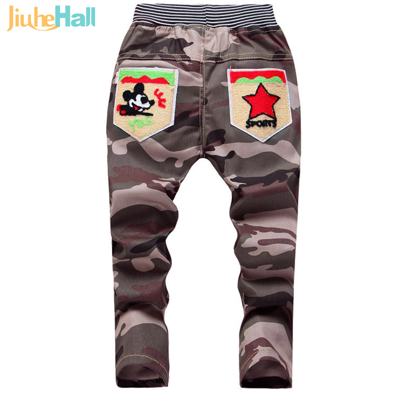 New 2016 Spring Casual Childs Camouflage Trousers Cute Cartoon Boys Jeans High Quality Elastic Waist Pants For 2-4T Kids FXB067
