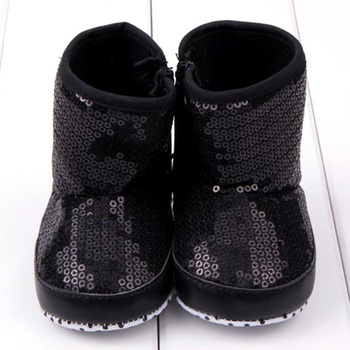 Winter Baby Girls Sequin High Boots Soft Bottom Anti Slip Toddler Shoes