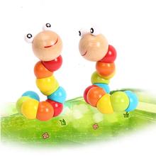 2016 Новое Прибытие Детские Игрушки Новый Разнообразие Твист-цветные Насекомые Деревянные Игрушки Раннее Образование Ребенка Caterpillar Игрушки