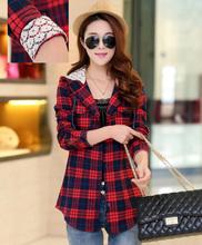 M-XXL Spring Autumn Women Breathable Cotton Plaid Hooded Shirts Cardigans Full Sleeve  Hoody Blouses Tops Female Basic Clothing(China (Mainland))