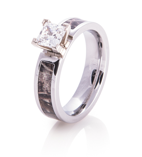 3 stone princess cut engagement rings with band