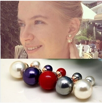 Shell Beads Women's Pearl Earrings Glaze Double Side Big Ear Stud Best Gift Jewelry - B Fashion Factory store