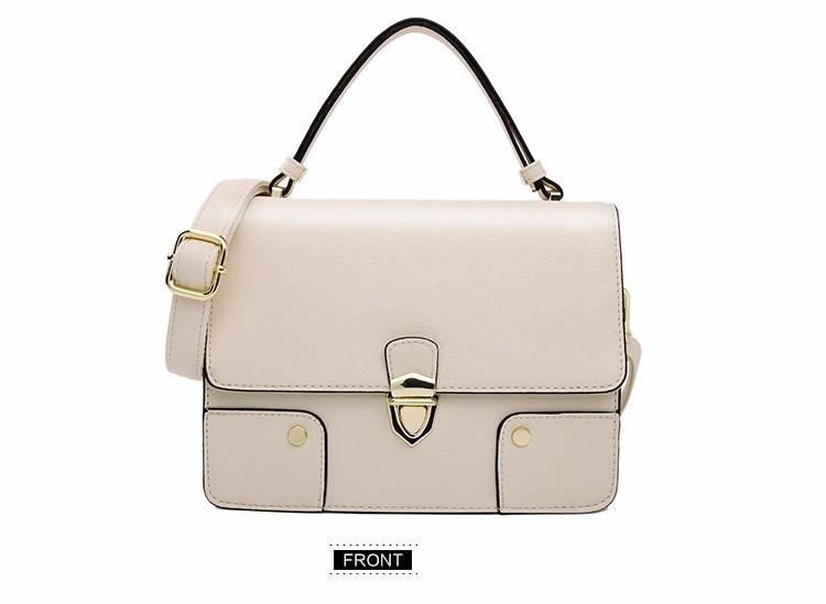Japan And Korean Style Solid Color Flp Small Bag Women Fashion Patchwork Ladylike Handbag Famous Brand Push Lock Shoulder Bag