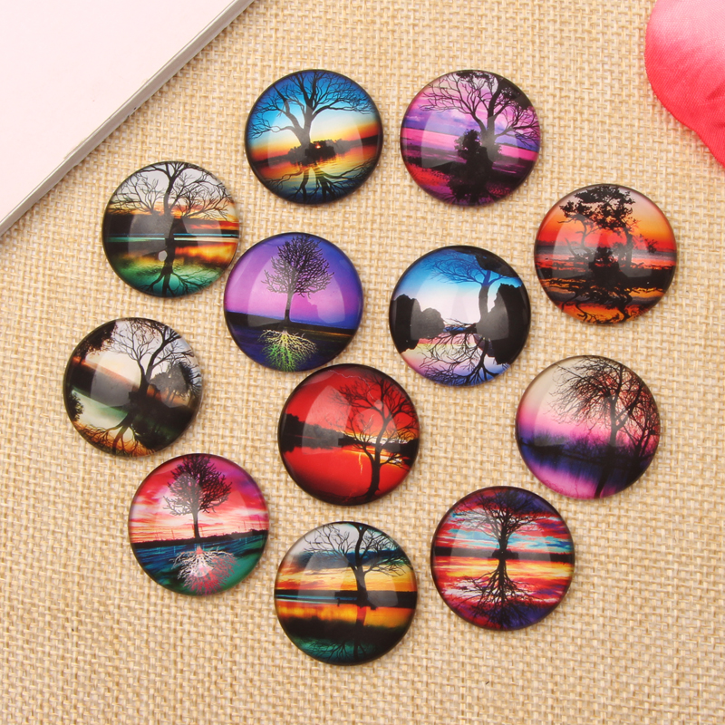 Flatback Round Dome Mixed Tree Reflections Photo Glass Cabochon 10mm 12mm 14mm 18mm 20mm 25mm for jewelry crafts(China (Mainland))