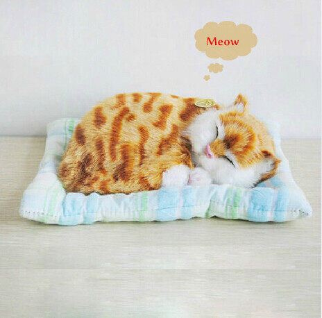 Genuine Cony Fur Hand-made Artificial Cat Plush Toy Lazy Sleeping Cat Stuffed Animal Sound Toy for Birthday Christmas Gift(China (Mainland))