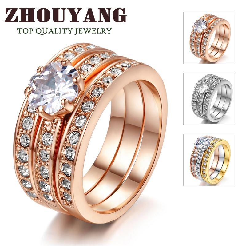 Top Quality 3 Round Fashion jewelry 18K Rose Gold Plated Ring ITALINA Genuine Crystals From Austria Wholesale R059 R060(China (Mainland))