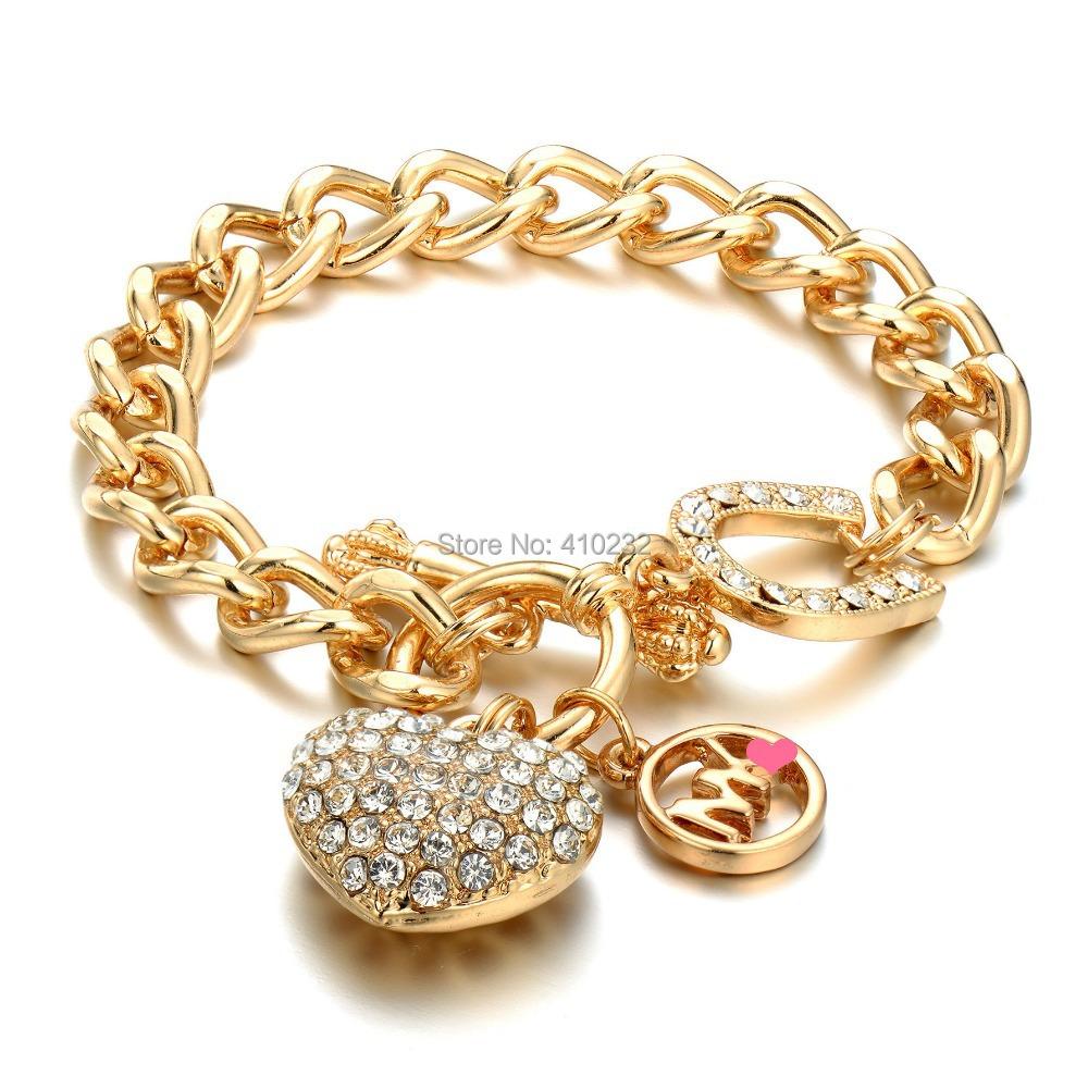 fashion jewelry fashion 18k gold heart charm bracelet