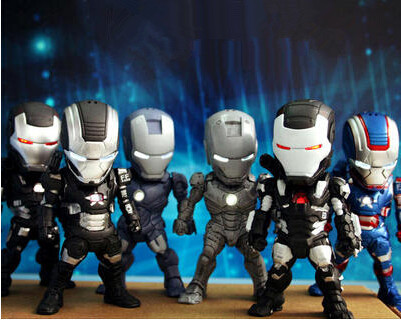 6pcs/Set The Avengers Iron Man 3 MK42 2 3 LED Flash Light PVC Action Figures Collectible Model Toys War Machine Car Ornaments(China (Mainland))