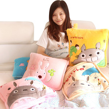 Cartoon totoro bear rabbit trainborn thickening cotton blending air-conditioning cushion quilt pillow(China (Mainland))